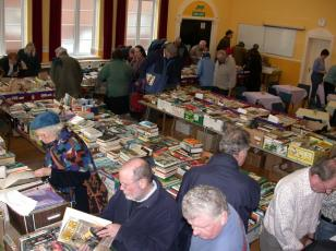 Browsing for books at one of the Sidmouth Lions\' Great Book Sales