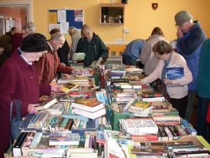 Browsing for books at a Great Book Sale